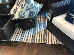 pottery barn luella rug blue 3x5 stripe indoor outdoor synthetic new in wrapping