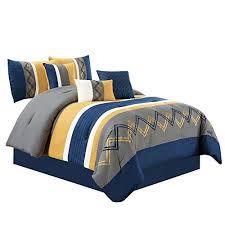bedding queen king bed yellow gray grey