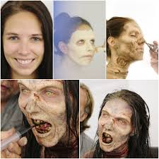 Zombie movies are traditionally shot in dark, spooky places. The Walking Dead Makeup Application Horror Makeup Zombie Makeup Spfx Makeup