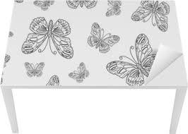 Fotobehang Vector Naadloze Patroon Van Zwart En Wit Vlinder