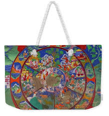 Bhavacakra Chart Yamantaka Dharmapala Wrathful Deity Wall Painting With Bhavacakra And Six Realms Of Samsara Weekender Tote Bag