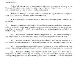 Music Contract Music Artist Management Contract Template Manager Free