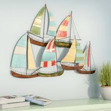 metal alloy boat wall decor on metal wall art sailing yachts with metal wall art with candles wayfair