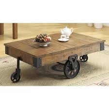 wood coffee table with wheels