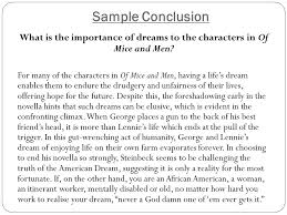 of mice and me john steinbeck year english text response  sample conclusion what is the importance of dreams to the characters in of mice and men