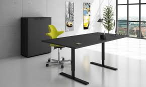 Spaceist - Q-10 electrically height adjustable standing desk in black with  black storage
