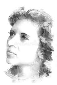 double exposure of a young beautiful girl painted portrait of a female face black and white picture isolated on white background female look