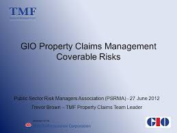 1 on behalf of the gio property claims management coverable risks public sector risk managers association psrma 27 june 2016 trevor brown tmf property
