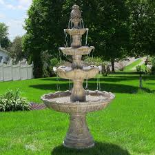Waterfall Home Decor 4 Tier Outdoor Waterfall Fountain Electric Pump Yard Garden Decor