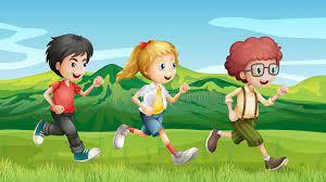 Andar muy deprisa y con impulso, de manera que entre cada paso los dos pies quedan en el aire corrieron. Ninos Que Corren A Traves De Las Colinas Ilustracion Del Vector Ilustracion De Pelo Hombres 33204033