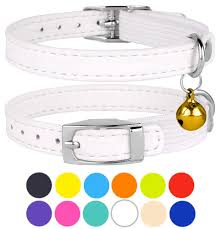 leather cat collar breakaway safety collars elastic strap for x small cats kitten with bell white com