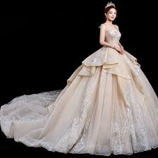 Stunning <b>Champagne Wedding</b> Dresses 2020 Ball Gown Spaghetti ...