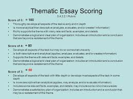 "how to guide for thematic essays"" ppt  thematic essay scoring 5 4 3 2 1 rubric"