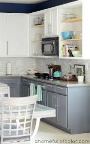 painted two tone kitchen cabinets white uppers and gray