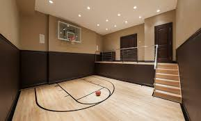 Wooden Basketball Game indoor volleyball courts home gym contemporary with baseboards 28