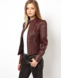 Asos Leather Jacket in Quilt Structured Shoulder in Purple | Lyst & Gallery. Women's Quilted Jackets Adamdwight.com