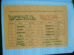 Classifying Polynomials By Degree And Number Of Terms Chart Pin By Andrea Allen On Extending The Number System Algebra