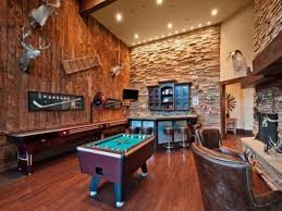 Wooden Games Room Game Room Man Cave Ideas With Bar And Fauc Stone Cladding And 9