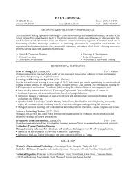 Sample Resume For Training And Development Manager