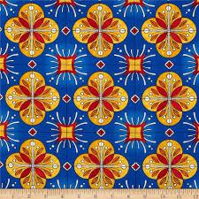 Spanish Fabric Designs Esperanza Large Spanish Tile Fiesta Blue