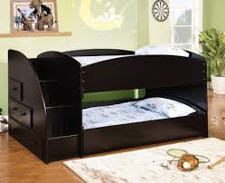 Merritt black finish wood Twin over twin short style bunk bed with pull out  trundle bed