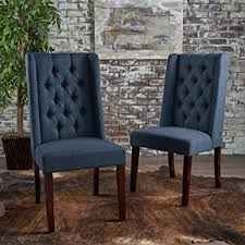 billings tufted navy blue fabric dining chairs set of 2