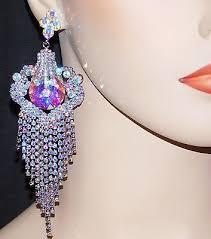 silver w ab iridescent rhinestone crystal chandelier bridal earrings