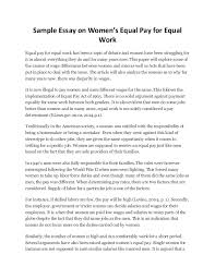 sample essay on women sample essay on women s equal pay for equal work equal pay for equal work has been