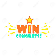 Win Congratulations Sticker With Star And Sparks Design Template