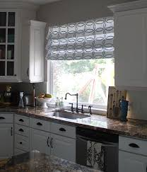 Gingerbread Kitchen Curtains Stenciled Faux Roman Shades Tutorial Kitchen Sneak Peek My Blog
