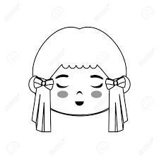 かわいい日本人の女の子漫画アイコン ベクトル イラスト グラフィック デザイン