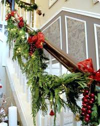 Christmas Banister Decorations Best Stairs Decoration For Ideas Bows Tie  Garland To Stair Railing Banister Banquette