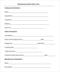 Blank Work Order Forms Templates Printable Work Order Forms Request Form Template Maintenance Elite