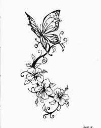 Beautiful Butterfly And Swirly Flowers Tattoo Sketch By