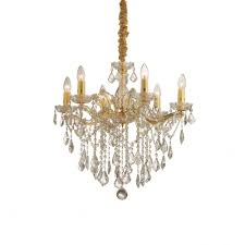 florian gold and clear crystal chandelier 6 bulbs