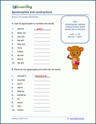 The worksheets on this page have words with both the long i and short i vowel sounds. Apostrophes And Contractions Worksheets K5 Learning