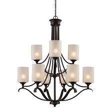 ballard 9 light oil rubbed bronze chandelier with frosted glass shades