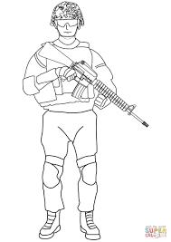 Soldier Coloring Pages Soldier With M16 Coloring Page Free