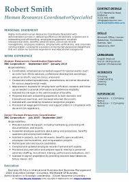Hr Coordinator Cv Sample Human Resources Coordinator Resume Samples Qwikresume