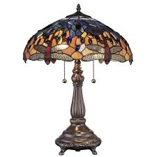 tiffany red dragonfly 25 in bronze table lamp