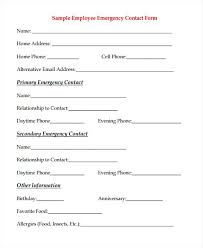 Emergency Contact Forms List File Of Life Sample For Babysitter