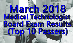 March 2018 Medical Technologist Board Exam Results (Top 10 Passers)