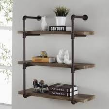 pieces of furniture with many shelves. Danya Three Tier Faux Wood Industrial Pipe Wall Shelf Throughout Pieces Of Furniture With Many Shelves