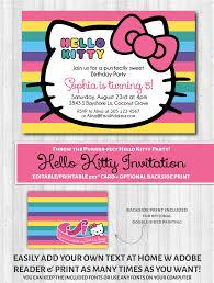 Hello Kitty Invitation Hello Kitty Printable Invitation Rainbow