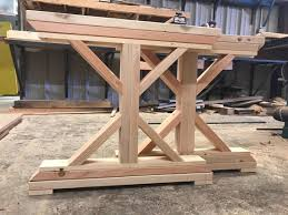 unfinished wooden x base farmtable legs