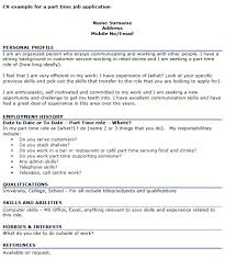 Cv For Part Time Job Cv Example For A Part Time Job Icover Org Uk