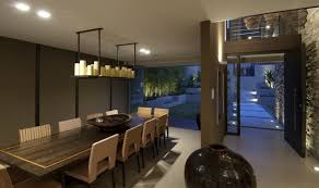 recessed lighting in dining room. Large Square Dining Room Table Arrangements With Recessed Lighting And Wall Stone Design Interior House In