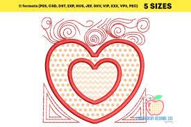 Double Floral Heart Applique Creative Fabrica