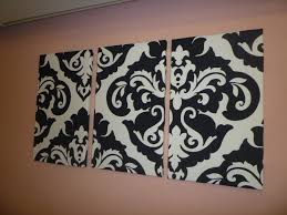 Black White Damask Fabric Wall Art Funky Retro By WickedWalls