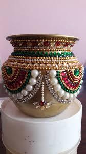 Diwali Kalash Designs Kundan Design On Copper Kalash Thali Decoration Ideas